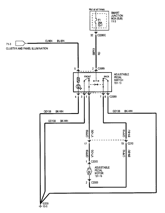 diagrama de cableado sistema de posicionamiento del pedal  u2013 ais3d